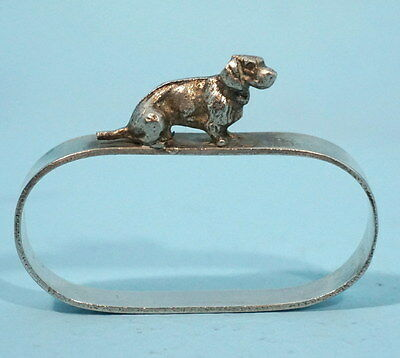 Antique Art Deco Silverplate Hunt Napkin Ring Dachshund Dog Germany
