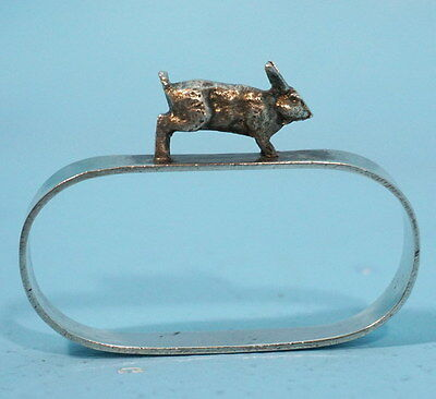 Antique Art Deco Silverplate Hunt Napkin Ring Bunny Rabbit Hare Germany