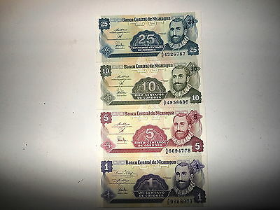 Nicaragua Lot of 4 1991 Uncirculated 1-5-10 & 25 Centavos Banknotes  (#E-7)