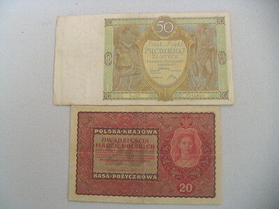 Poland Old Circulated 1919 20 Mark & 1929 Zlotych Banknotes   (#A-7)