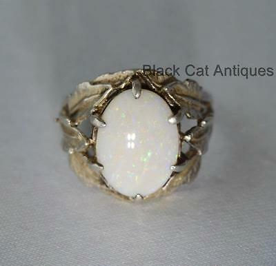 Gorgeous Opal & Leafy Silver Cocktail Statement Ring Size 10.5