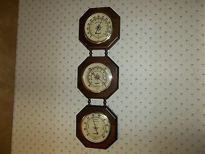 """Vintage 19-1/2"""" Wood Springfield Wall Unit Thermometer-Humidifier-Barometer"""