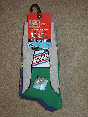 Mens Novelty Socks 5X Pairs Size 6-11 With Anti Bacterial Finish New