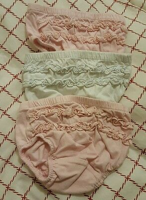 frilly baby knickers age 9-12 months . Pink and white