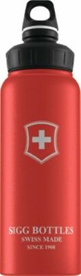 Sigg - Wide Mouth Bottle Swiss Emblem Touch Red - 1.0L- Aluminum Water Bottle