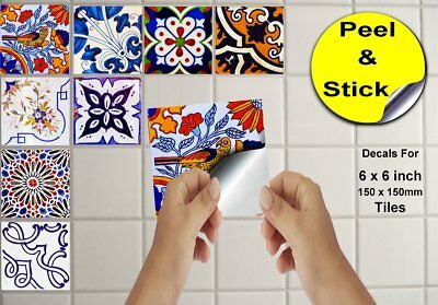 "Moroccan Style Tile Sticker Decal Transfers For Kitchen Bathroom 6"" CTP51"