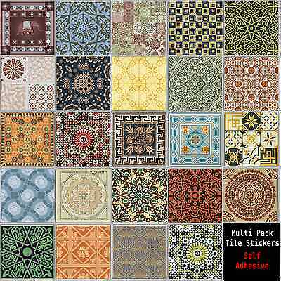 "Multi Pack Style Tile Sticker Decal Transfers For Kitchen Bathroom 6"" CTP06"