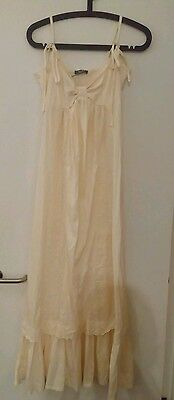 south white cream dress maxi vintage 10 12 new with tags