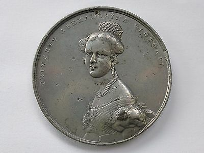 *50mm LARGE ANTIQUE WHITE METAL QUEEN VICTORIA ASCENSION MEDAL BY OTTLEY*