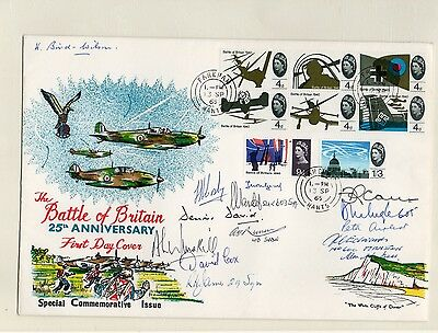 Hand Signed RAF Battle of Britain FDC by 13 incls Ayeist, Carey & David