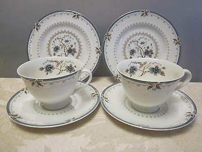 Pair Vintage Royal Doulton Bone China Old Colony Tea Cups & Saucers Plates Trios