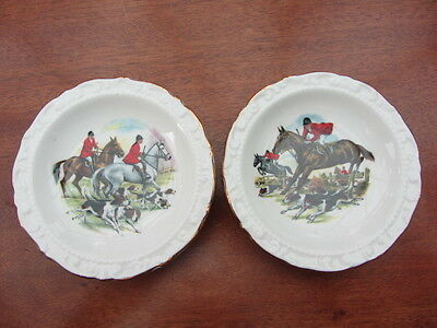 2 x BONE CHINA PIN DISHES - FOX HUNTING - HORSES - HOUNDS - Approx dia. 4 1/2""