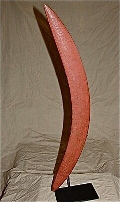 Antique Australian Aboriginal Boomerang With Red Ocher Pigment.  circa 1880