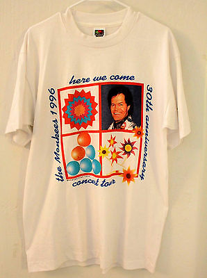 THE MONKEES 1996 30th Anniversary Vintage TOUR T-SHIRT White Size L NEW