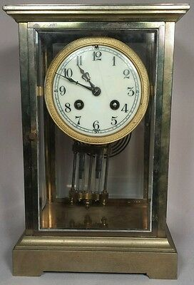 Antique French Crystal Regulator Clock -Works intermittently- parts - repair