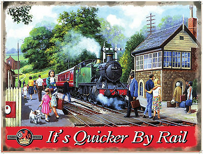 Quicker By Rail Steam Engine Train Station Model Railway Layout Metal Wall Sign