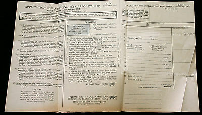 60's Driving Test Appointment Form D.l.26 Fascinating Information - Collectable
