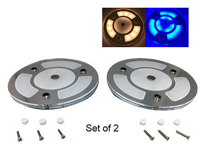 """Pactrade Marine 5"""" 2PCS White Blue LED Ceiling Courtesy Light Mirror Touch"""