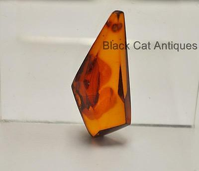 German Estate Find - Genuine Cognac Amber - Angular Polished Pendant 2 Grams