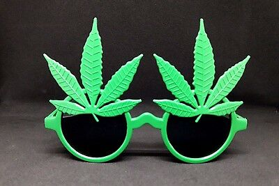 POT Leaf Sunglasses Funny Glasses Marijuana Green Reefer Plastic Party cannabis