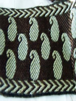 Antique Ribbon Trim Silver Paisley On Chocolate Brown 2 1/4 wide and 3 Yards Lon
