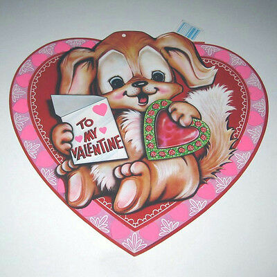 Vintage 1983 Beistle To My Valentine Die Cut Cute Little Puppy Wall Decor