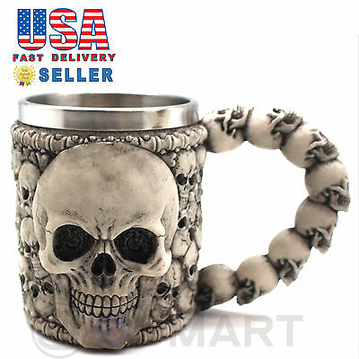 Skeleton Skull 3D Skeleton Tankard Mug Cup Coffee Beer Pirate Gothic Halloween D