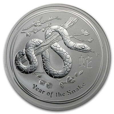 2012 Australian Perth Mint 10oz Year of the Snake - Pure Silver Coin in Capsule