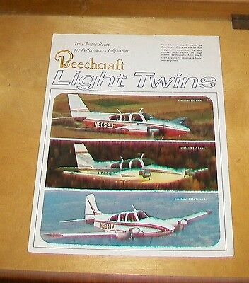 BEECHCRAFT LIGHT TWINS BROCHURE. C55 D55 BARON D95A TRAVEL AIR. In French