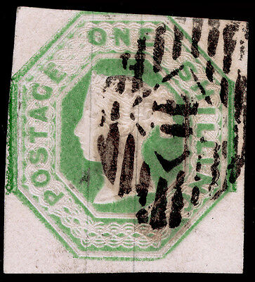 Sg55, 1s green, CUT SQUARE, good used. Cat £1000.