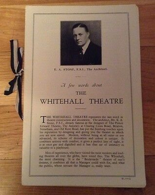 WHITEHALL THEATRE OPENING PERFORMANCE PROGRAMME the way to treat a woman