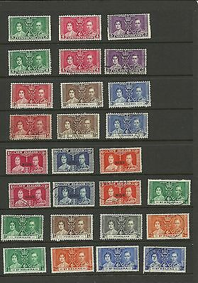 Commonwealth 1937 Coronation Selection Of Sets Mounted Mint /used Ref 3