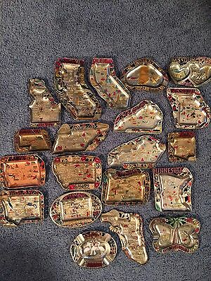 Lot Of 20 Vintage Souvenir Metal State Ashtrays Made In Japan