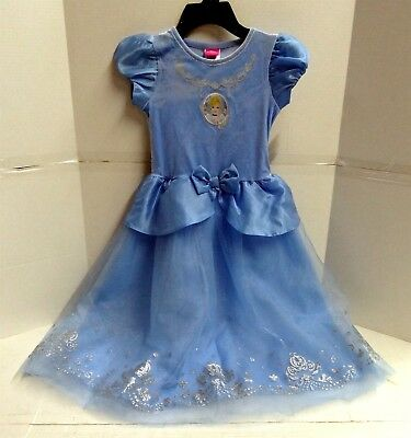 Disney Girl's Cinderella Ocean Blue Sparkle Dress , Size 6