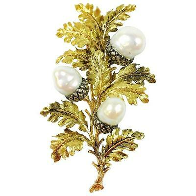 Large Vintage Buccellati Pearl and 18K Gold Acorn Brooch