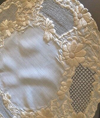 Antique Linen Silk Embroidery  Large Topper Table Doily Wedding Bridal Linens