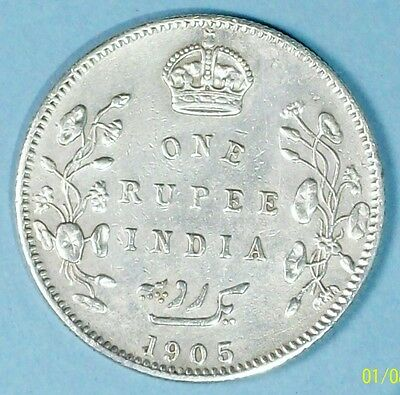 India British Rupee 1905 About Uncirculated  0.9170 Silver Coin