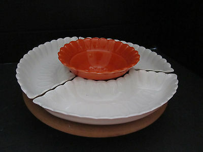 Vintage California USA Pottery (L56) Lazy Susan 4 Sections White & Orange Spins