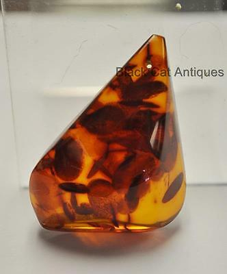 German Estate Find - Genuine Cognac Amber - Angular Polished Pendant 12.1 Grams