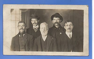 SUPER 1906c GROUP OF EDWARDIAN MEN RP PHOTO VINTAGE POSTCARD