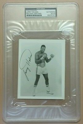 "LARRY HOLMES SIGNED AUTOGRAPH AUTO 5""x4"" PHOTO PSA/DNA AUTHENTIC SLABBED"