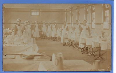 SUPER 1908c GRAND PARTY WITH WAITRESSES ON APRONS RP PHOTO VINTAGE POSTCARD