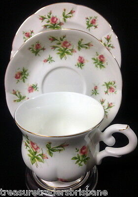 Spring Flower Peach Fine Bone China Trio Cup Saucer Plate Pink Rose Buds