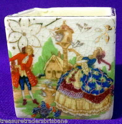 Vintage Small Square Cubed Trinket Pot Depicts Crinoline Lady & Gentleman