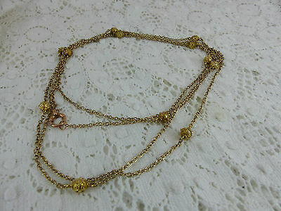 Antique Victorian 10ct Gold Long Guard Muff Chain, 56'' 15 grams