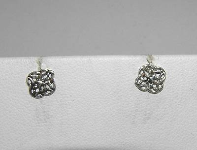 Celtic Entwined Trinity Knots Tiny Stud Post Earrings Sterling Silver