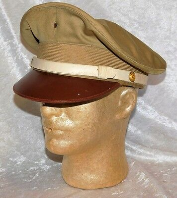 Wwii Rare Us Army Mp Military Police Em's White Band Crusher Visor Cap Hat