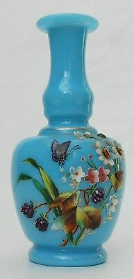 Beautiful Antique French Opaline And Abundant Raised Hanmade Enamel Vase