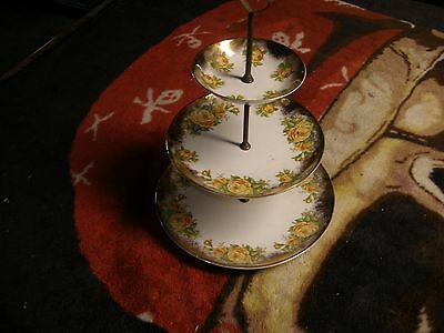 Gorgeous - Falcon Ware - 3 tiered TIDBIT Candy Dish - Hanley England - ROSES
