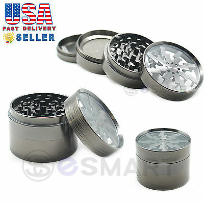 2.5 inch Titanium Color 4 Layer Zinc Alloy Herb Clear Top Glass Tobacco Grinder